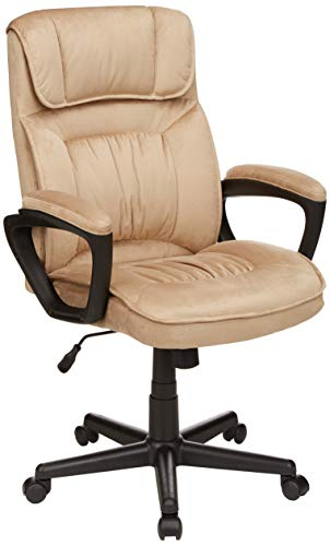 AmazonBasics Classic Office Desk Computer Chair - Adjustable, Swiveling, Microfiber - Light - Beige Microfiber Chair