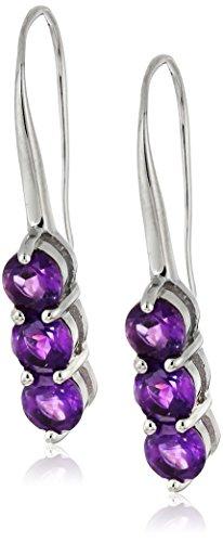 Earrings Drop Hook Amethyst (Sterling Silver Amethyst 3-Drop Hook Earrings)