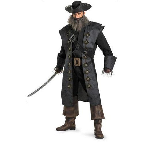 Disguise 198525 Pirates Of The Caribbean - Black Beard Deluxe Adult Costume - Black - X-Large - (Costume Ideas For Men With Beards)