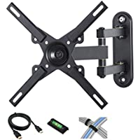 Full Motion Tilt-Swivel-Rotation TV Wall Mount for 12-27 Flat Screen TVs with 6 HDMI Cable, Cable Ties and Leveler