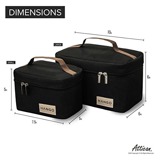 Hango Adult Lunch Box Insulated Lunch Bag Large Cooler Tote Bag (Set of 2 Sizes) For Men and Women, Black by Attican (Image #2)
