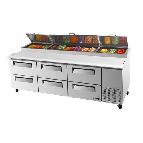 TPR-93SD-D6 93 Commercial Pizza Prep Table 12 Pans w/ 6 Cooler Drawers Turbo Air Pizza Prep Table