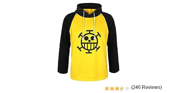 L Talla CoolChange Camiseta de Trafalgar Law con s/ímbolo de Jolly Rogers del Equipaje de Piratas Sombrero de Paja de la Serie One Piece