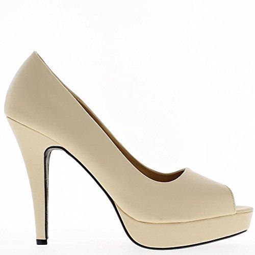 Aperto bianco scarpe tacco 8,5 cm