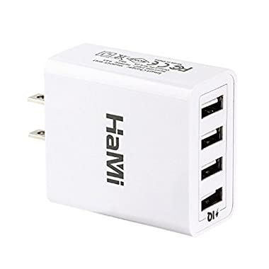 HaMi 25W 5A 4-port USB Wall Charger,Power Adapter Travel Charger with Power IQ for Iphone 6/6s/plus/5/5s, Ipad, Samsung, Nexus, HTC, Tablet [12-Month Warranty] - White
