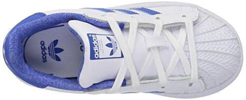 Sneaker Superstar Adidas Originali Per Bambini (bimbo / Bimbo / Bambino / Neonato) Bianco / Blu / Collegiata Reale