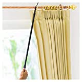Drapery Pull Rod - The Original 36-62'' Universal Telescoping Drapery Pull Rod and Adjustable Curtain Wand for Easier Opening and Back Doubles as a Clothes Hook Hanger for Closet Storage Organization