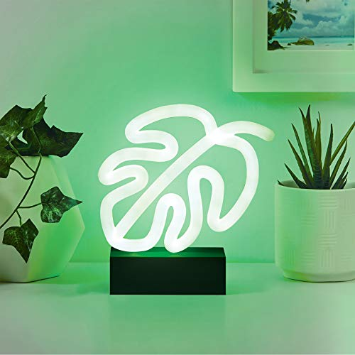 Merkury Innovations 7″ inch LED Neon Green Monstera Leaf Night Light, Mood Light with Pedestal,Battery Operated Wall Art,Bedroom Decorations,Lamp,Home Accessories,Party and Holiday Decor: Neon Green