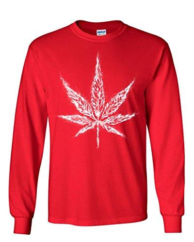 (Smoking Pot Leaf Long Sleeve T-Shirt Smoking Weed 420 Marijuana Cannabis Tee Red M)