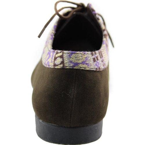 Kvinnor Oxford Loafer Snörning Platta Mulit Färg Bekväma Dagliga Mode Skor Brun Sv