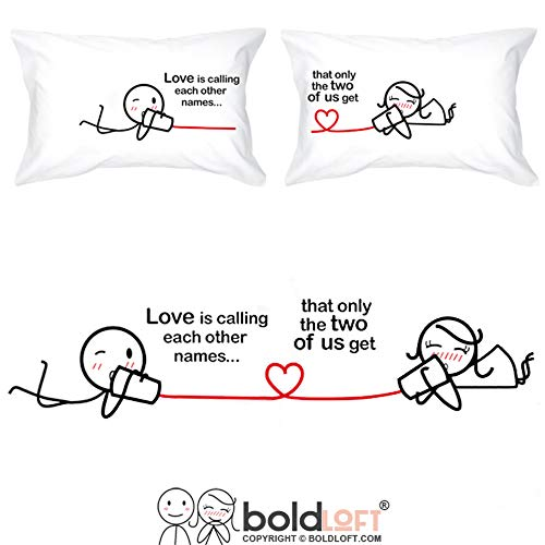 BoldLoft Love Ties Us Together Couple Pillowcases-Stick Figure-Cute Packaging for Couples, His and Hers Gifts for Valentine's Day, Long Distance Relationship-20 x30 White Set of 2