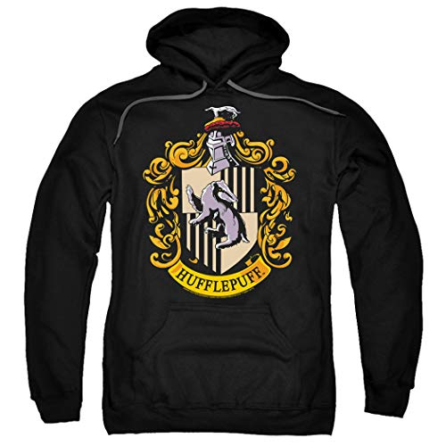 Popfunk Harry Potter Hufflepuff Logo Pull-Over Hoodie Sweatshirt & Stickers (Medium)