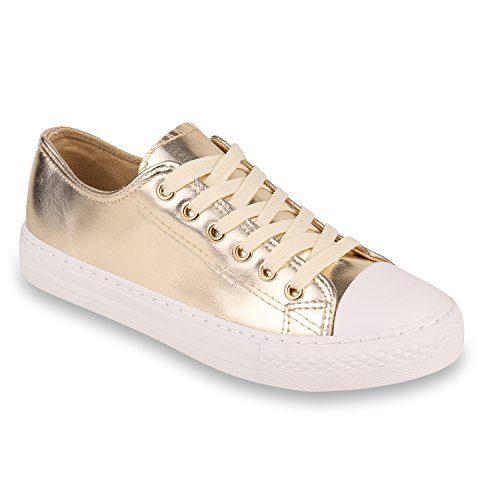Stiefelparadies Glitzer Damen Sneakers Sneaker Low Metallic Schnürer Denim Flats Turnschuhe Sportschuhe Flandell Weiss Gold