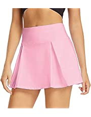 MetCuento Womens Athletic Golf Tennis Skirt Pleated Performance Sport GRunning Workout Athletic Skort with Pockets