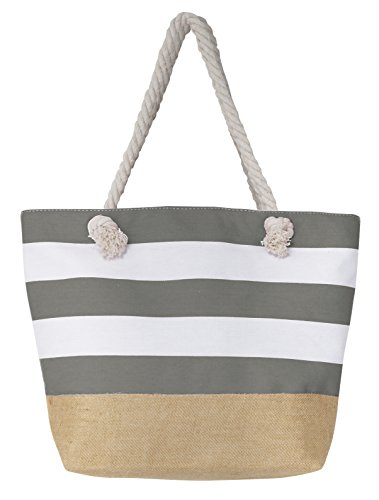 Leisureland Canvas Tote Beach Bag, Water Resistant Shoulder Tote Bag (L20 xH15 xW6, Stripe Gray) by Leisureland