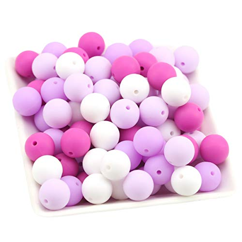 Baby Love Home 100pcs 12mm Silicone Baby Teether Purple Series Food Grade Silicone Unfinished Beads Nursing Teething Accessories