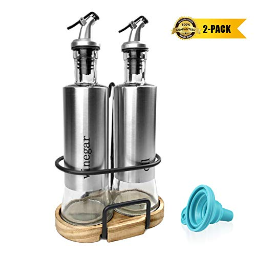 Oil and Vinegar Dispenser Set, Glass Olive Oil Vinegar Bottle Set with Stainless Steel Shell, 2-Pack 10.3 Oz[300ml] Oil & Vinegar Cruets with Drip-Free Pourers and Funnel for Easy Pouring (Set And Oil Vinegar Glass)