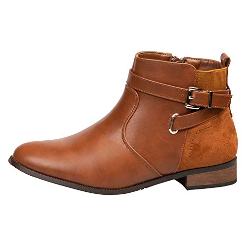Feet First Fashion Jasmine Womens Low Heel Flats Zip up Buckle Detail Ankle Boots Camel