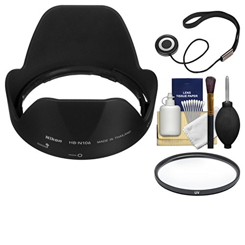 Nikon HB-N106 Bayonet Lens Hood for 18-55mm AF-P & 18-55mm f/3.5-5.6G VR AF-P DX with UV Filter + Cleaning Kit