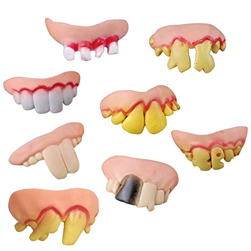 Fund Halloween Party Cosplay Prop Decoration Ugly Fake Teeth Costume Party Funny Gag Pack of 8 (Cute Scary Costumes Halloween)