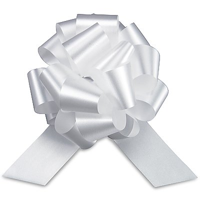 White Pull String Bows - 5.5 Inch Wide 20 Loops (1 and 7/8 Inch Ribbon) Set of 10