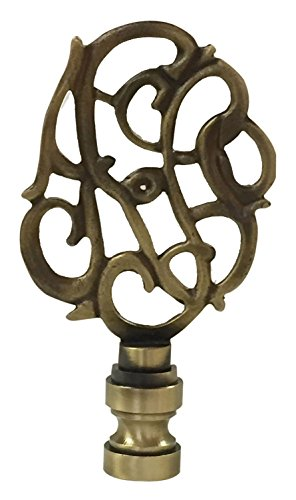 Royal Designs Hand Carved Caste Floral Lamp Finial for Lamp Shade- Antique Brass