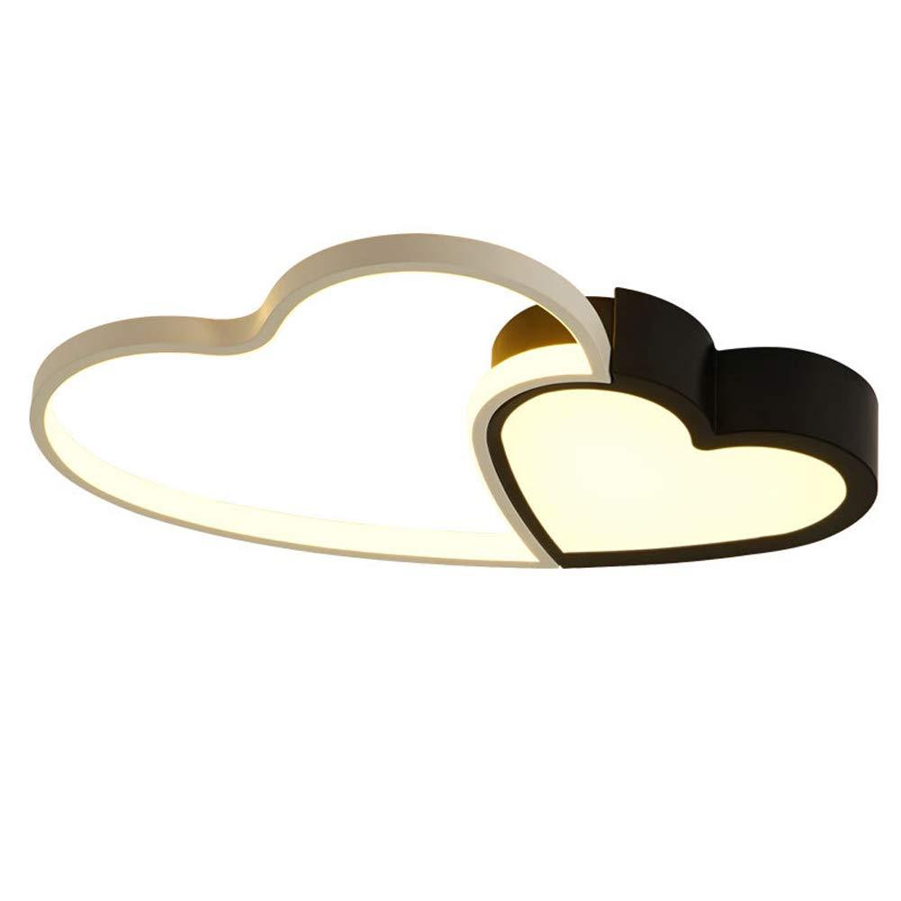 KBEST LED Zwei Herzen zusammen-Shape Deckenleuchte Creative Acryl Aluminium Lampenschirm Modern Elegante Matt Weiß Deckenlampe Wohnzimmer Schlafzimmer Deckenleuchte,WarmWhite,34WD56cm
