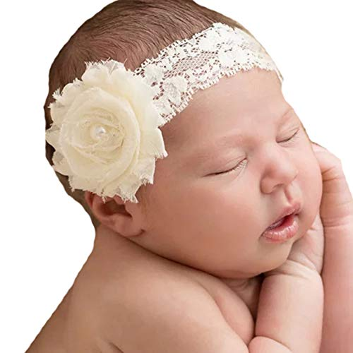 Lebo Baby Girl Lace Headband with Shabby Chic Bows (Chic Bow)