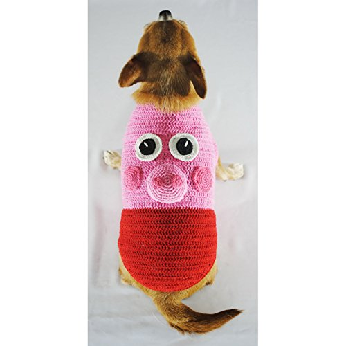 Peppa Pig Costume for Pet Funny Dog Halloween Costume Unique Handmade Knit 298K (XXS)