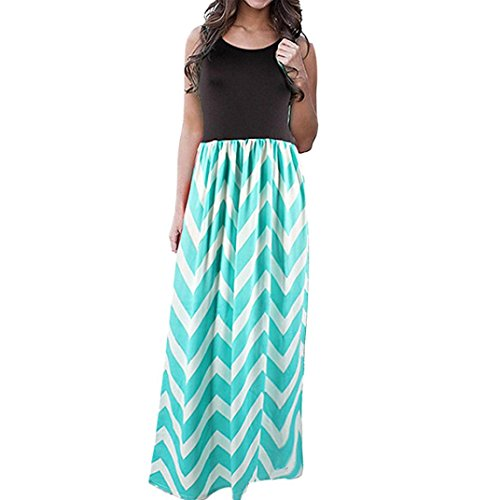 Women Summer Dress,Duseedik Womens Casual Dress Sleeveless Scoop Neck Wave Striped Tank Maxi Long Dress 2018 (XXXL, Green)