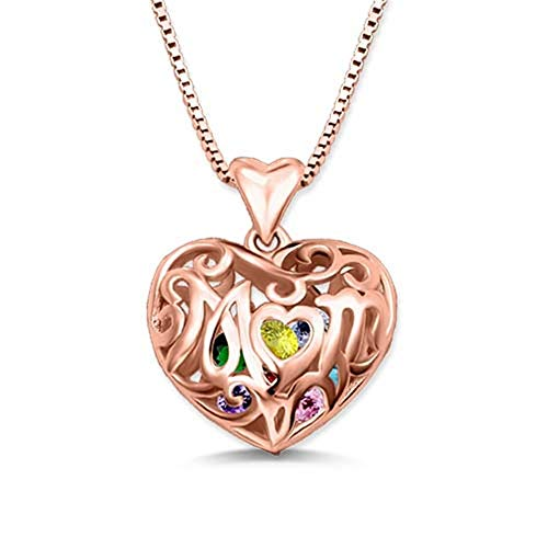 ProDIgal Heart Shape Necklace Mom's Jewellery with 8 Personalised Birhtstones Inside