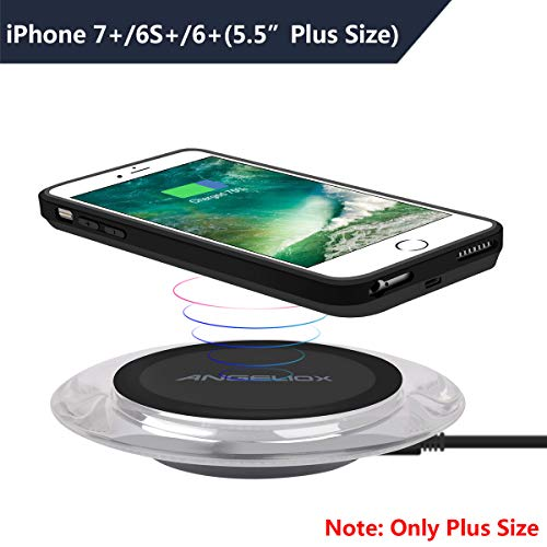 Wireless Charger with Qi Wireless Charging Receiver Case for iPhone 7 Plus/6S Plus/6 Plus(5.5- Plus Size Only),ANGELIOX Qi Wireless Charging Pad Compatible with iPhone XS Max/XS/X/8+,Galaxy Note 9/S9