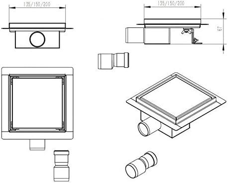 Caniveau de douche en acier inoxydable S8 pour douche pr/êt /à carreler Dimension:15 x 15 cm dimension s/électionnable