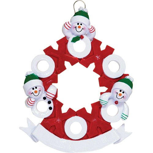 Personalized Hug Kisses Family of 3 Christmas Tree Ornament 2019 - Snowman Hat Pose Red White XOXO Wreath Child Friend Winter Activity Tradition Gift Year - Free Customization (Three)