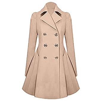 Amazon.com: Womens Lapel Double Breasted Trench Parka Coat