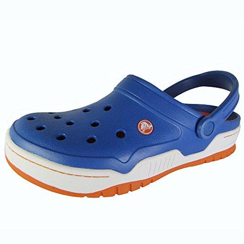 Crocs Men's 14300 Front Court Clog, Sea Blue/Orange, 12 M (Front Court Clog)