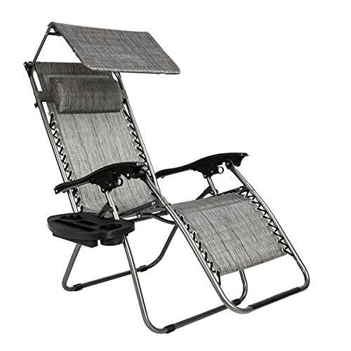Comfortable Zero Gravity Recliner Padded Patio Lounge Chair Heavy Duty Adjustable Patio Recliner Chair with Awning Leisure Chair Perfect for Outdoor Backyard Patio Beach Pool [US STOCK] (Gray)