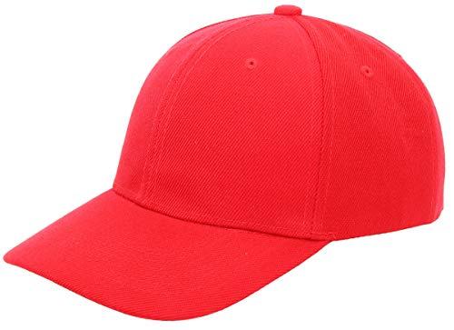 Men's Plain Baseball Cap Adjustable Curved Visor Hat, RED