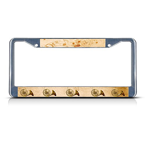 French Horn Musical Instrument Style 2 License Plate Frame Aluminum Metal License Plate Cover Holder Humor Funny Auto Car Truck Plate Frame 2 Holes and - Musical Horns Instrument