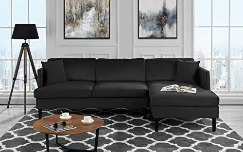 Mid Century Modern Velvet Sectional Sofa, L-Shape Couch (Black)