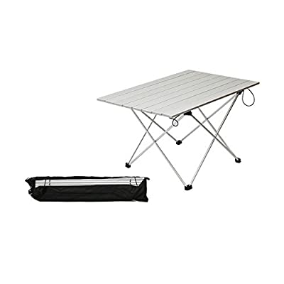 ASDOMO Portable Camping Tables with Aluminum Table Top, Hard-Topped Folding Table in a Bag for Picnic, Camp, Beach, Boat and Easy to Clean