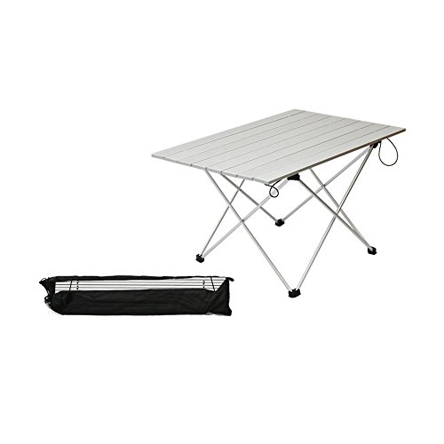 ASDOMO Portable Camping Tables with Aluminum Table Top, Hard-Topped Folding Table in a Bag for Picnic, Camp, Beach, Boat and Easy to Clean - Folding Wooden Camp Chair
