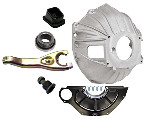 NEW SWS CHEVY ALUMINUM BELLHOUSING, FLYWHEEL INSPECTION COVER, THROWOUT BEARING, CLUTCH FORK, CLUTCH FORK BOOT & CLUTCH PIVOT BALL, GM 621 3899621 REPLACEMENT FOR SBC & BBC FOR 11