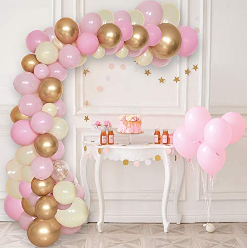 Ultra Living Balloon Arch & Garland Kit | 60 Pink, Gold, Yellow & Confetti Latex Balloons | 16' Decorating Strip Tape | DIY Birthday, Wedding, Baby Shower, Graduation, Anniversary, Party Decorations ()