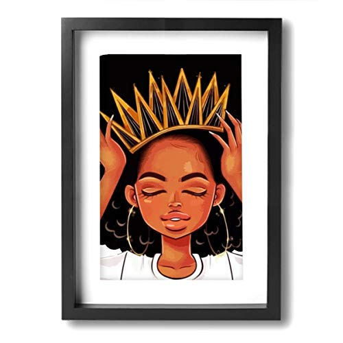 Hd8yehao Canvas Wall Art Black Hippie African American Women Girl with Crown Prints Picture Modern Paintings Decorative Giclee Artwork Wall Decor Wood Frame Ready to ()