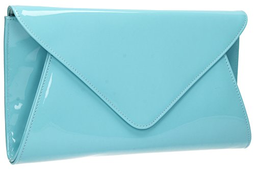 Bridal Leather Womens Prom Envelope Bag Patent Clutch Mint Evening Flapover Juliet Party aRO7S4xwOq