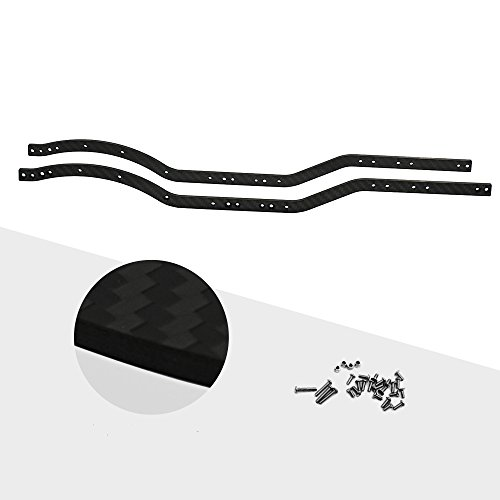 RCLions RC Car Body L/R Chassis Frame Rails Set for Axial SCX10 1/10th RC Crawler Car (Carbon Fiber)