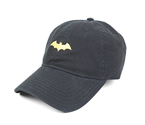 Baseball Cap Adjustable Strap - DC Comics Batman Embroidered Logo Adjustable Strap Baseball Cap