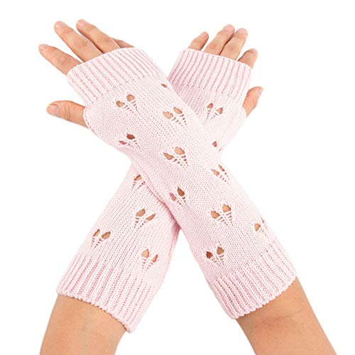 Womens Winter Knit Fingerless Gloves Hollow Heart Thumbhole Arm Warmers Mittens Over Elbow Gloves Mittens by BingYELH (Image #4)