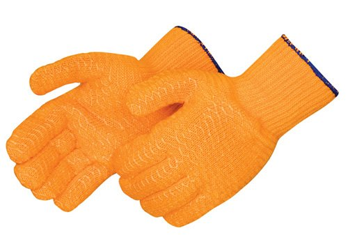 (Liberty 4707 PVC Two-Sided Clear Honeycomb Glove with Elastic Knit Wrist, Large, Orange (Pack of 12))